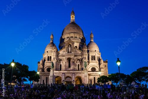 Sacre Coeur Cathedral on Montmartre Hill at Dusk, Paris, France Wallpaper Mural