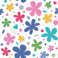 colorful hearts and flowers...