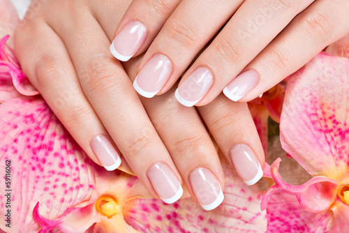 Beautiful woman's nails with french manicure Poster
