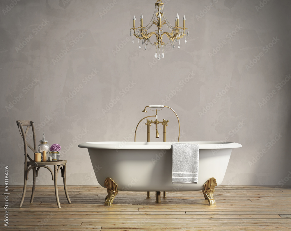 Fototapety, obrazy: Classic bathtub with chandellier and aged wood floor