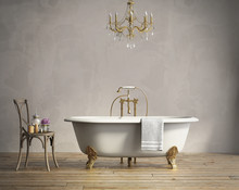 Classic Bathtub With Chandelli...