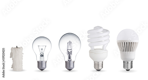 Obraz Candle, tungsten bulb,fluorescent,halogen and LED bulb - fototapety do salonu