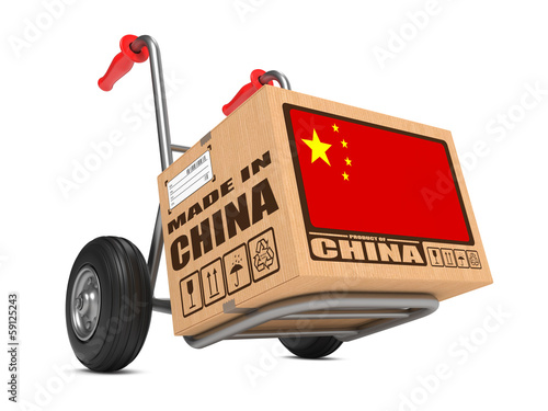 Canvas Print Made in China - Cardboard Box on Hand Truck.