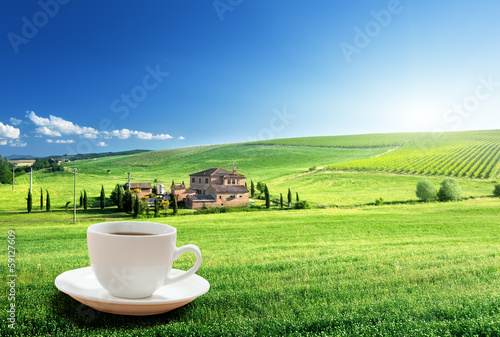 In de dag Lime groen cup coffee and tuscany landscape, Italy