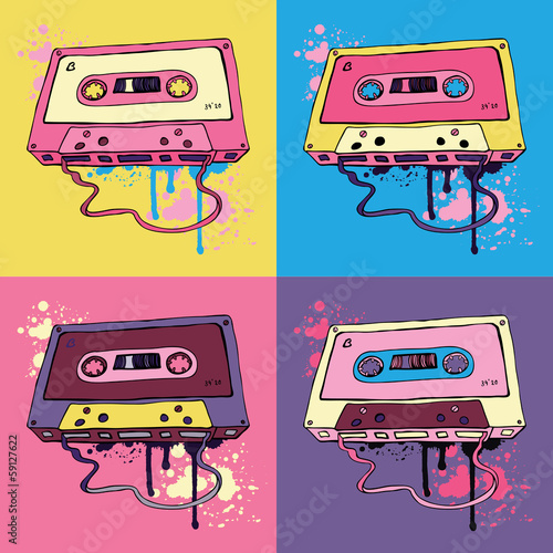 Retro Audio cassette tape Poster Mural XXL