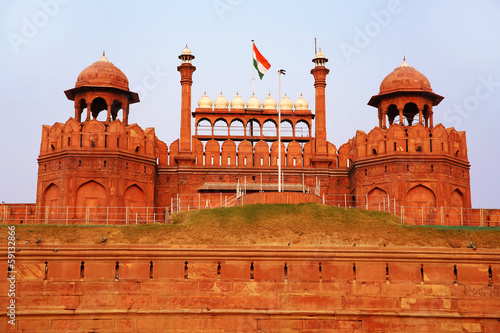Stickers pour portes Delhi Majestic facade of Red Fort