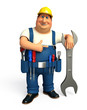 Mechanic with big wrench