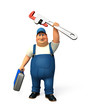 Plumber with wrench & tool box