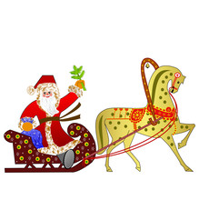 Santa Claus With The Sack Of Gifts In Sledges In A Team With A H