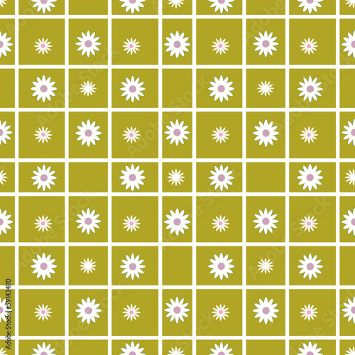 Foto op Aluminium Op straat Checkered seamless pattern with flowers