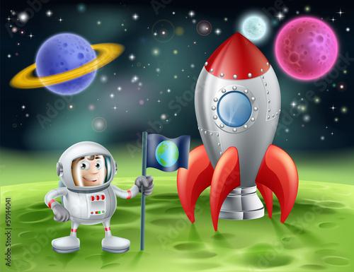 Fotografie, Obraz  Cartoon astronaut and vintage rocket