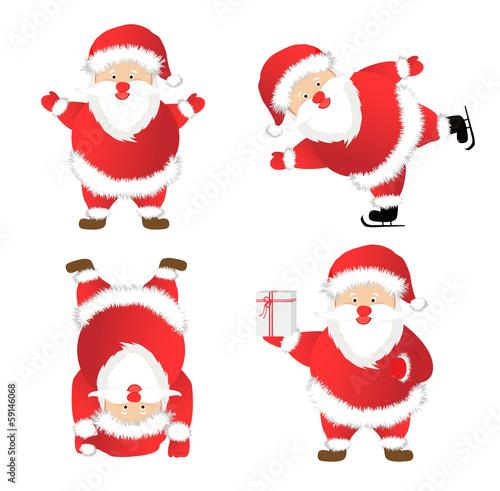 Fototapety, obrazy: Set of Santa Claus. vector illustration.
