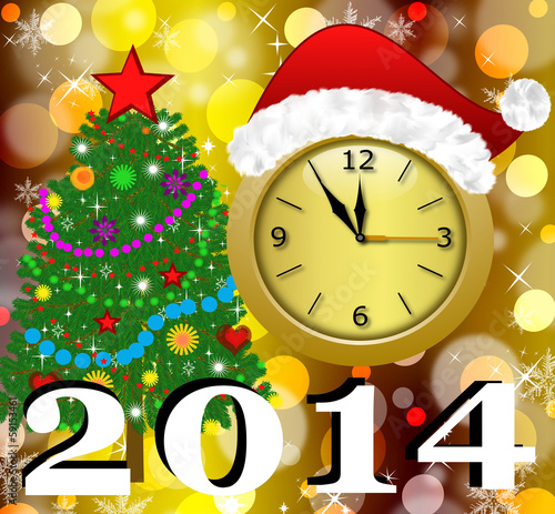 Fotografie, Obraz  clock with a new-year cap, by a fir-tree decorated and symbols o