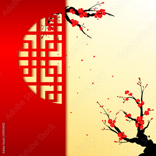 Photo  Chinese New Year Cherry Blossom Background