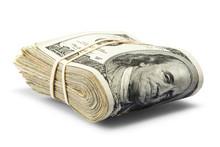 Folded Hundred Dollar Bills Isolated On White Background