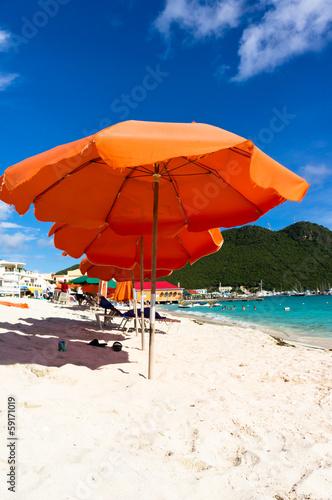Foto op Plexiglas Caraïben Beautiful beach in Philipsburg, Saint Martin, Carribean Islands