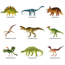 Dinosaurs Isolated On White Ve...