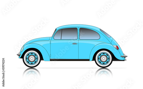 Staande foto Cartoon cars compact blue car