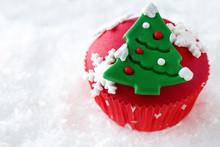 Red Decorative Christmas Cupcake