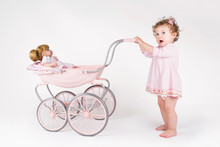 Funny Baby Girl Walking With A...