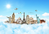 Fototapeta Teenage - Travel the world monuments clouds concept