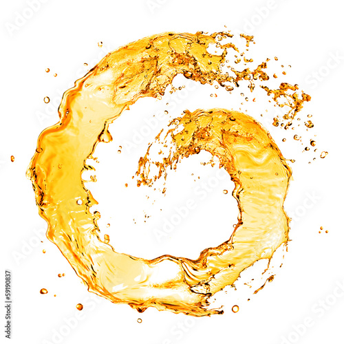 Fototapeta round orange water splash isolated on white obraz