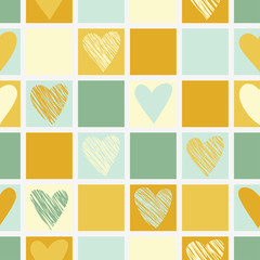 FototapetaSeamless geometric pattern with hearts.