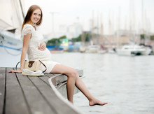 Happy Pregnant  Woman In Sea P...