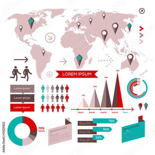 Set of infographic elements with world map buy this stock vector set of infographic elements with world map gumiabroncs Gallery