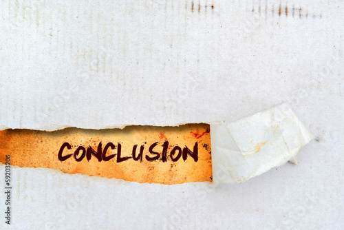 Fotografía  Conclusion title on old paper