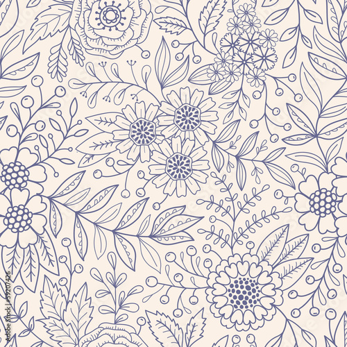 Seamless floral pattern Wallpaper Mural