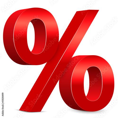 Fotografía  Rabatt – Rotes Prozentzeichen, 3d, Prozent, Icon, Zeichen