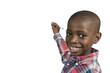 canvas print picture - Afrikanischer Junge schreibt, Textfreiraum