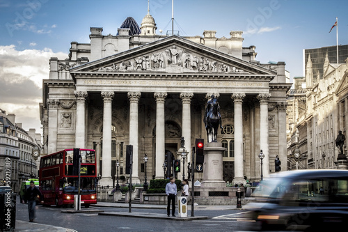 Poster Londres bus rouge Royal Exchange, London