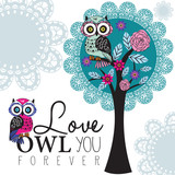 owl on a lace tree vector illustration