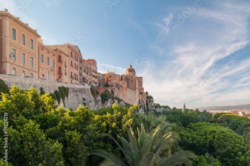 Fotografie, Obraz Coucher de soleil sur les remparts de Cagliari