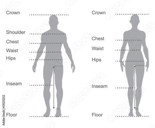 Photo  size chart, measurement diagram, body measurements for clothing