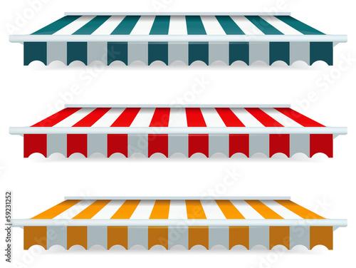 Fotografie, Obraz  Colorful set of striped awnings