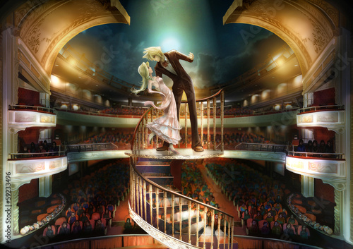Tableau sur Toile Staring couple are performing love scene show in grand the the