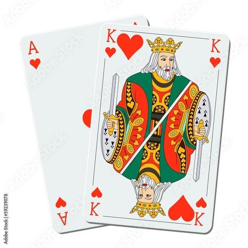 Blackjack – 21- Roi et as de coeur Poster