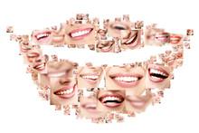 Smile Collage Of Perfect Smiling Faces Closeup. Conceptual Set O