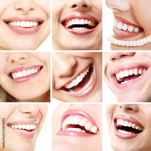 Perfect smiles. Set of beautiful wide human smiles with great he #59246053