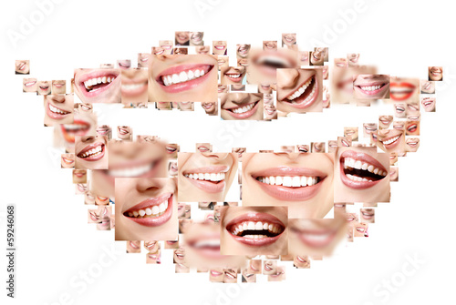 Plakat Smile collage of perfect smiling faces closeup. Conceptual set o