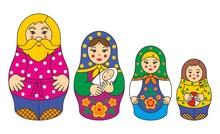 The Family Of Russian Matryoshka Dolls