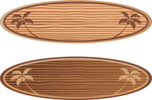Wooden Surf Boards With Hawaii...