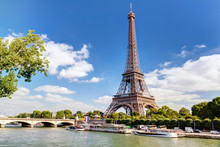 Eiffel Tower In Paris, France. Panorama Of Seine River In Summer.