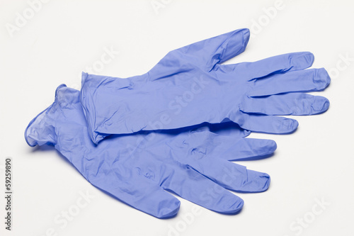 Fotografija  Blue latex gloves, horizontal
