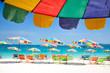 Beach chair and colorful umbrella