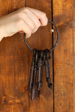 Bunch Of Old Keys Hanging On W...