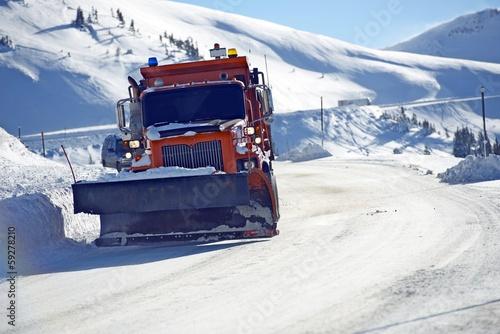Fotografie, Obraz  Snowplow Clearing Road